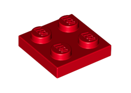 Plate 2X2 Bright Red